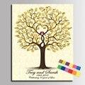 Firma Libro de Visitas DIY Decoración Del Partido de La Boda boda de la Huella Digital del Árbol Pintura de la Lona en 5 Tamaño (Incluya 12Ink Colores)