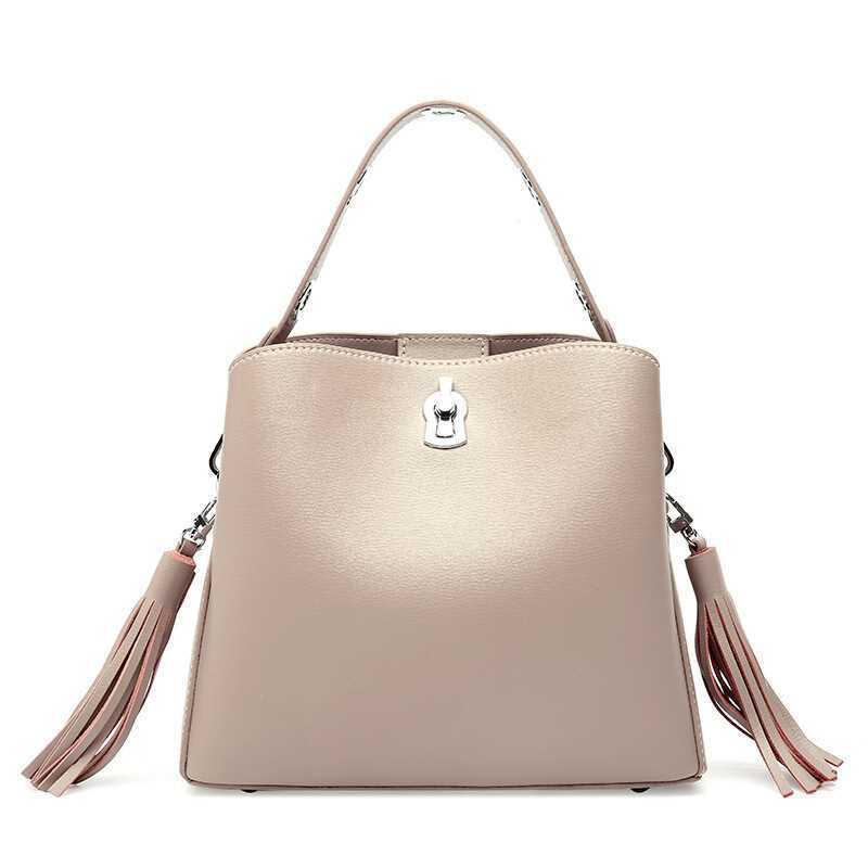 Genuine Leather Women Handbags 2018 Fashion Tassel Crossbody Bags Ladies Shoulder Bags 3 Kinds Shoulder Straps Female Handbags