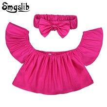 c67ce7491 Bebé niña camisetas hombro volantes amarillo rojo rosa blanco Tee camiseta  tops diadema 2 piezas