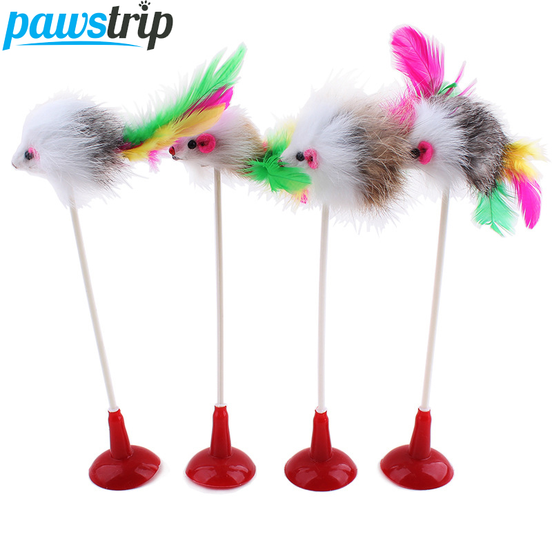 1pc Colorful Feather Cat Toy False Mouse Bottom Sucker Funny Cat Teaser Toys 20cm