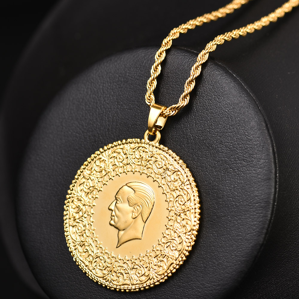 Image 3 - Three Size Muslim Islam Turkey Ataturk Pendant Allah Arab  Necklaces for Women Gold Color Turkish Coins Jewelry Ethnic  GiftsPendant Necklaces