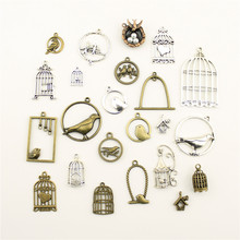Fashion Jewelry Making Animal Home Bird Cage Jewelry Findings Components Mix Pendant(China)