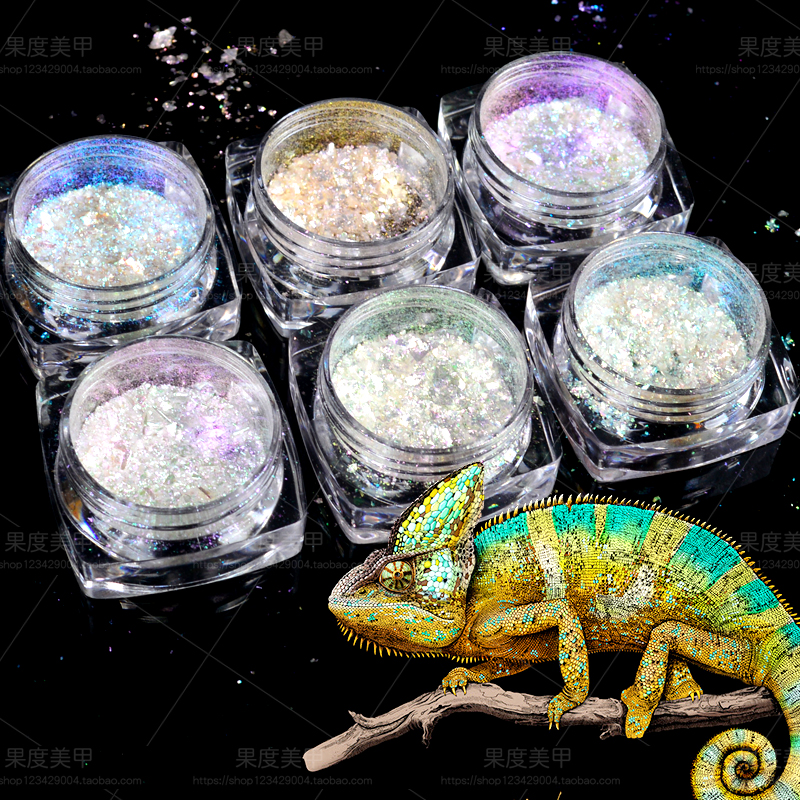 YZWLE 0.2g Shinning Irregular Nail Glitter Flakes Tips Decorations Colorful Chameleon Nail Art Beauty Manicure Powder