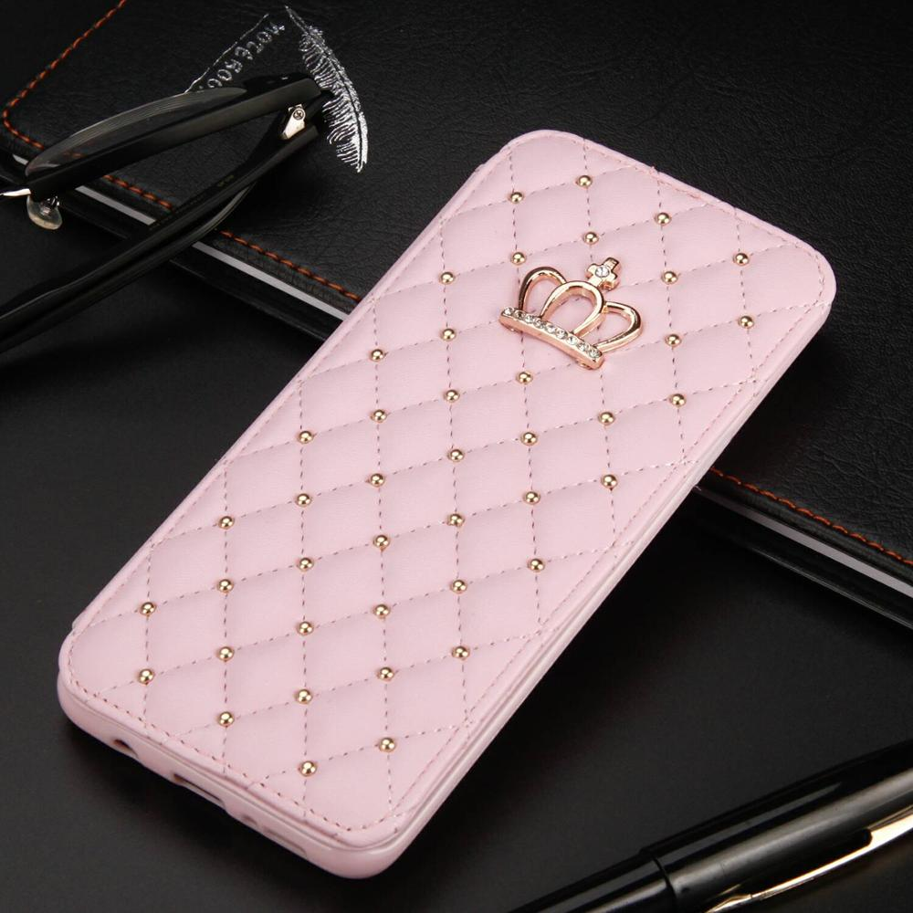 Glitter Crown For Samsung Galaxy S6 S7 Edge S8 S9 S10 Lite Plus Diamond Wallet Leather Case Flip Stand Cover Mobile Phone Bag