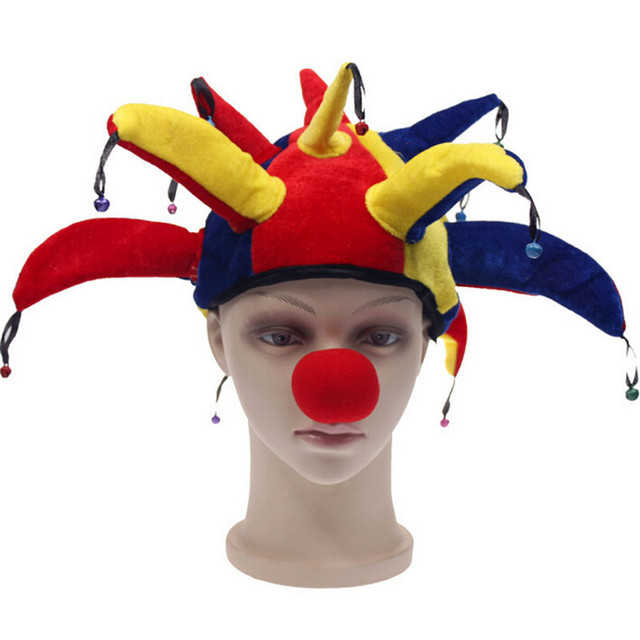 2017 new colorful halloween party clown hat with small bell carnival funny costume ball hats funny