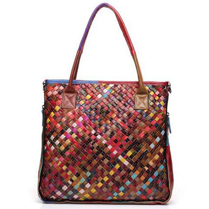 Colorful Sheepskin Patchwork woven knitted Tote bag 100% genuine leather handbag women handmade bags shoulder bags D90-8