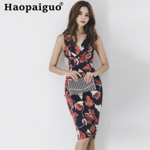 Plus Size Print Floral Bodycon Wrap Dress Women V-neck Sleeveless Korean Dresses Ladies Tank Flower Black Dress Summer 2019 Robe цена