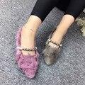 Женщина Обувь Мягкие Кожаные Ботинки Совок Обувь Мокасины Женщин Балерина Твердый Свиной Перл Бисероплетение Симпатичные Норки Волос