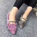 Woman Shoes Soft Leather Shoes Scoop Shoes Loafers Women Ballerina Solid Pigskin Pearl Beading Cute Mink Hair