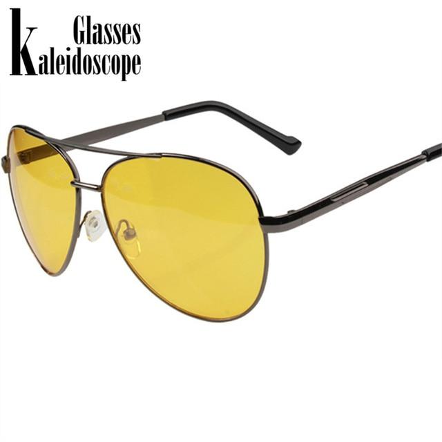 dc0bde5dc6 Kaleidoscope Glasses Night Vision Glasses Men Driving Yellow Lens Sunglasses  Anti Glare Vision Driver Safety Glasses for Men