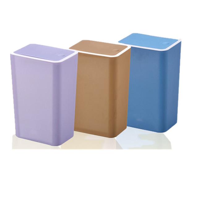 Waste Bin Garbage Bucket Trash Can Plastic Storage Barrels Bucket Covered  Rectangle Paper Trash House Cleaner