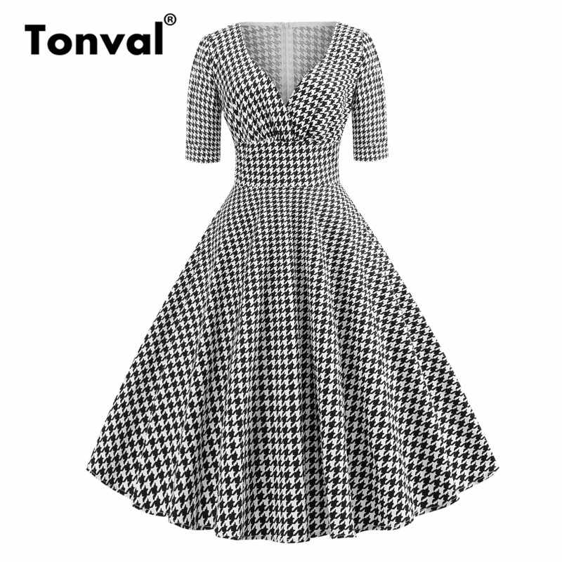 49c84885a3983 Tonval Houndstooth Vintage 50s Half Sleeve Plaid Dresses Pinup Hepburn Women  Sexy V Neck Party Retro