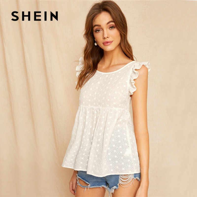 SHEIN белая блузка с оборками и завязками на спине, женские топы, Boho Solid, без рукавов, с овальным вырезом, Женские топы и блузки