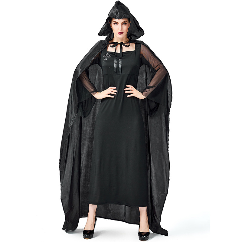 Umorden Womens Black Horror Cross Witch Sorceress Dress Costume Halloween Easter Mardi Gras Fancy Party