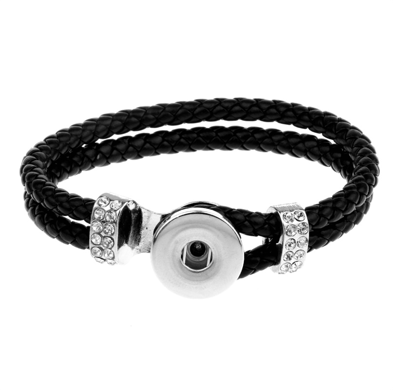Fashion Black PU leather Ginger Snap Button Bracelet Vintage Double Layers Braided Leather bangle Jewelry 2 styles NSB033