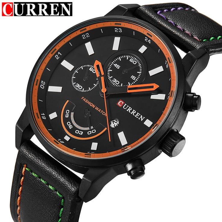 2016 Top Luxury CURREN Brand Men Genuine Leather Sport Waches Men's Quartz Hour Date Clock Male Wrist Watch Relogio Masculino oem curren 8110 t waches c576