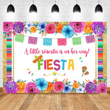 Mexico Fiesta Theme Backgdrop Colorful Flower Baby Shower Party Photo Background Golden rim Colorful Flag Photo Backdrops цены