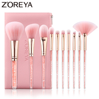 Zoreya Brand Concealer Blending Professional Makeup Brushes 10pcs Soft Synthetic Hair Blush Foundation Eye Shadow Fan