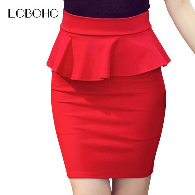 Plus Size Women Pencil Skirts Ruffles 2018 Spring Fashion Korean Casual  Ladies Bodycon Skirts Elegant Open af3227115b59