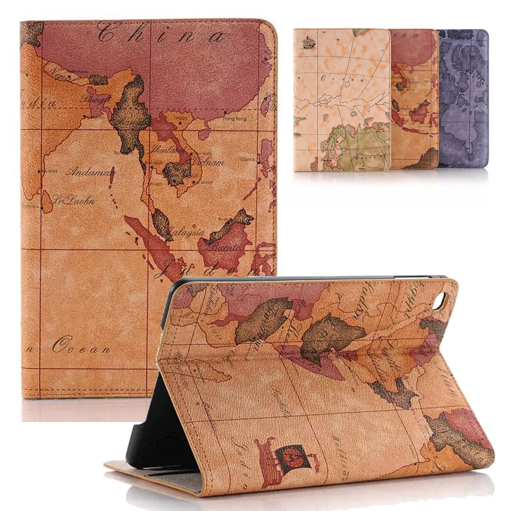 For Funda iPad Mini 4 Cover World Map PU Leather Wallet Smart Cover Stand Case for Apple iPad Mini 4 Auto Sleep/Wake Up minions selfie print leather magnetic case funda smart cover for apple ipad mini case for ipad mini 1 2 3 4 retina case wake up