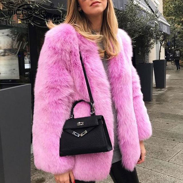 7d703b2625b Runaway 2018 Women Winter Pink Fur Coats Jackets Fluffy Shaggy Faux Fox Fur  Coat Women Thicken Warm Winter Outerwear Overcoats