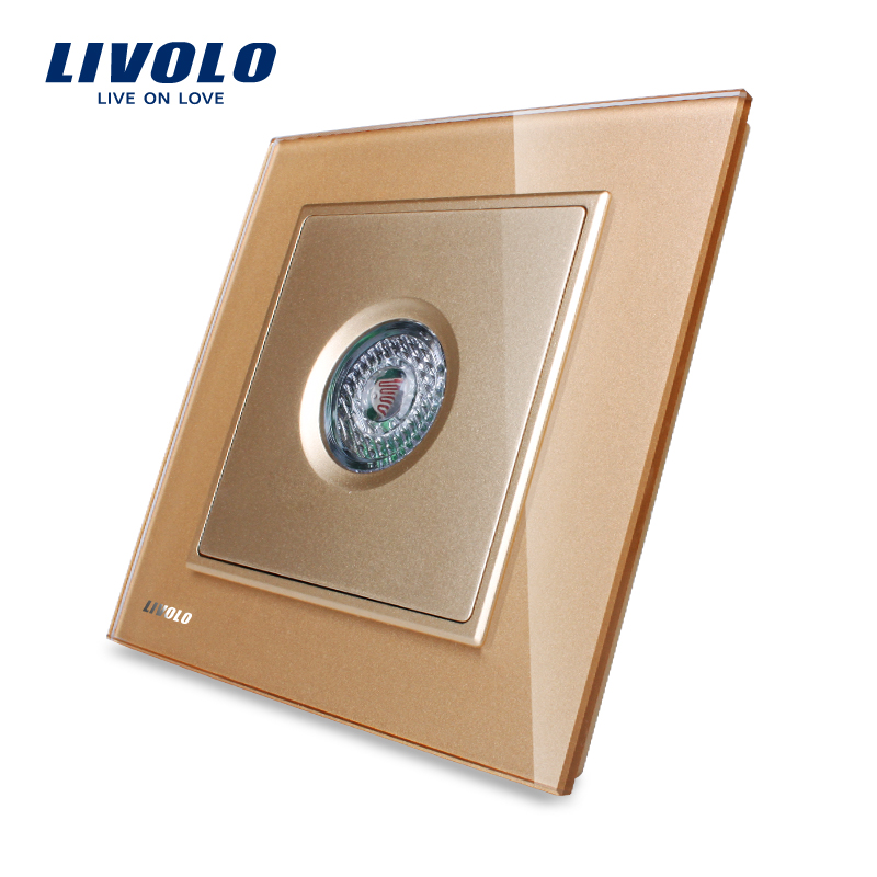 LIVOLO New Arrival Golden Glass Panel Sound & Light Control/Motion Sensor time-delay Switch,40S, VL-W291SG-13 manufacturer white crystal glass panel livolo new wall light sound control switch ac 110 250v 40s vl w291sg 12