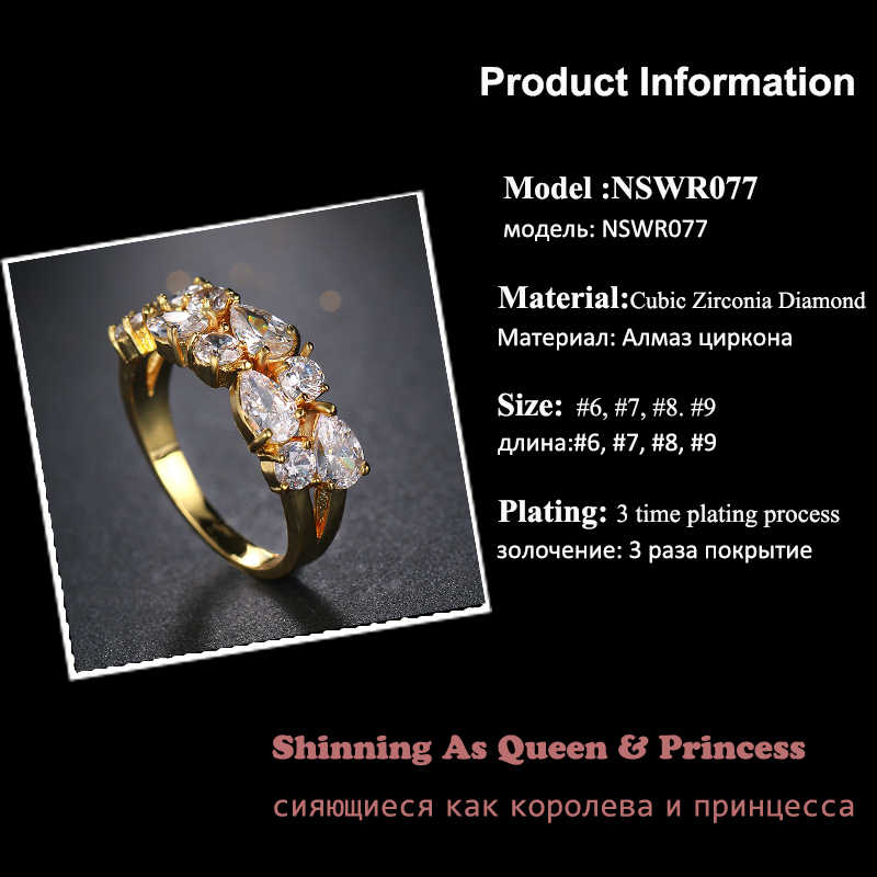 Classic Drop Cubic Zircon แหวนหมั้นสีขาวทองสี Mona Lise Bague เครื่องประดับหญิง AR077
