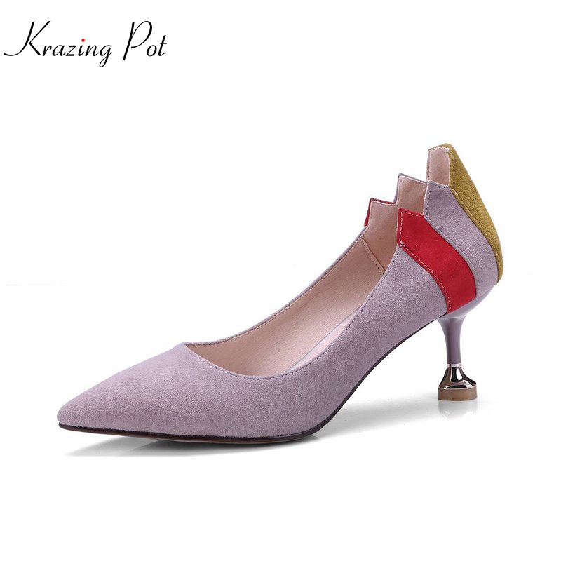 krazing Pot 2018 sheep suede spring women pumps high heels simple pointed toe solid office lady shallow mixed color shoes L01 krazing pot empty after shallow shoes woman lace work flats pointed toe slip on sheep suede causal summer outside slippers l16