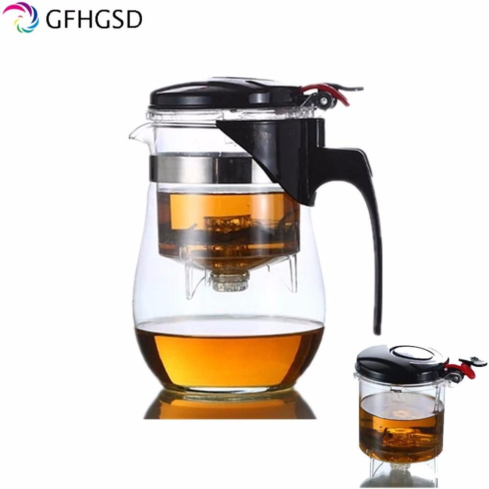 GFHGSD 500ml Teapot Heat Resistant <font><b>Glass</b></font> Teapot Flower Tea Set Puer kettle Coffee Teapot Convenient Office Teaset free shipping