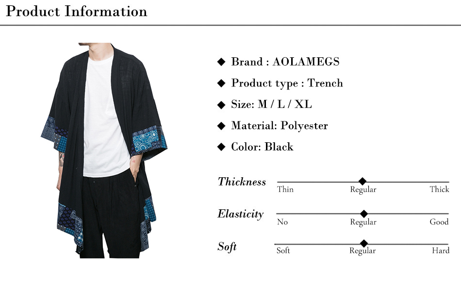 Aolamegs Men Shirts Chinese Style Trench Cardigan Coat Half Sleeve Plus Size Fashion Casual Solid color Male Cloak Black Coats (19)