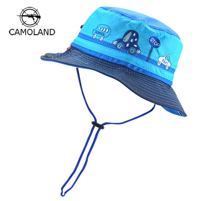 a0332bf09 Adjustable Sun Hat Kids Bucket Hat Quick Dry Summer Fishing Cartoon Cap Boy  Girl Panama Children Hat Infant Beach hat Outdoors