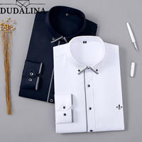 DUDALINA 2018 Men Shirt Without Pocket Long Sleeved Classical Male Shirts Formal Business Shirt Man New Arrival Embroidery Logo