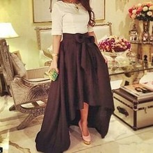 2015 Simple High Quality Short Sleeve Evening Gowns A-line Taffeta Dress With Bow