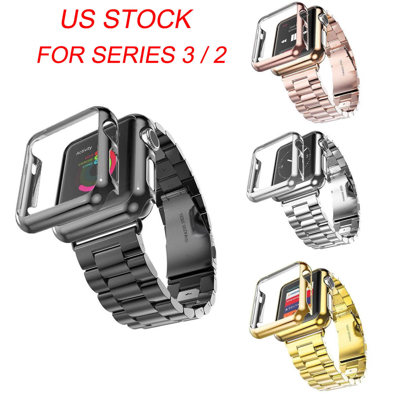 Gold Plated Cover Protective Case Bumper Stainless Steel Metal Strap for Apple Watch Series 3 2 Band iWatch Bracelet 42/38mm