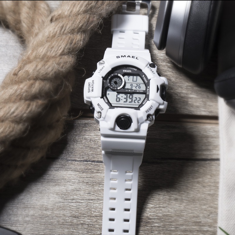 Image 4 - Sport Quartz Digital Watches Male Watch SMAEL Sport Watch Men Waterproof relogio masculino Clock White Digital Military Watches-in Sports Watches from Watches