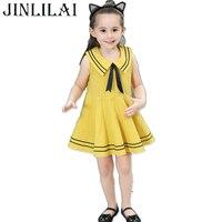 JINLILAI 2018 Baby Mädchen Kleid Kinder Kleider Baumwolle Marine-seemann Uniformen Fliegen Kleid Prinzessin Kostüm für Kinder Kleidung