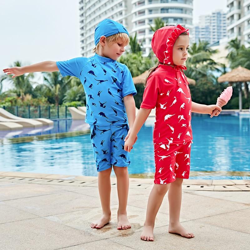 Boys' Clothing Summer Boy Swimwear 2019 Fashion Children Kids Sleeve Cartoon Shark Beach One Piece Swimsuit+hat Swimwear 2pcs Set Dropshipping
