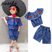 3d76c53fb9 Puseky 2PCS Outfits Children Clothing Set Toddler Kids Baby Girl Embroidery  Floral Boat Neck Flouncing Denim Tops+Shorts Pants