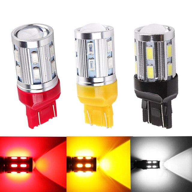 T20 7443 светодио дный лампы 12 SMD 5730 W21/5 Вт 5 Вт автомобиля светодио дный лампы Включите стоп-сигнал источника парковка Авто белый красный желтый