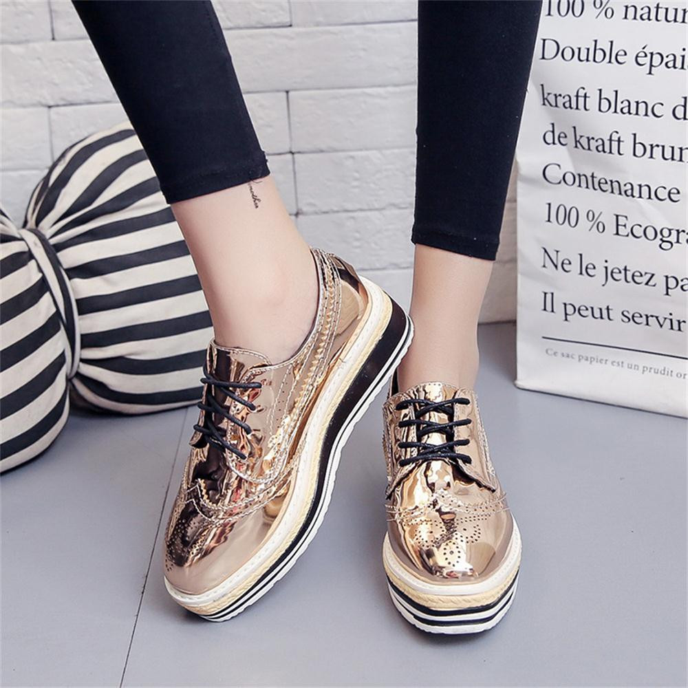 Women Outdoor Leather Casual Sports Shoes Lace-Up Thick-Soled Increase Shoes italian shoe and bag set for party in women blue #8 4