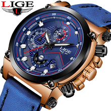 купить LIGE Watch Men Sport Quartz Fashion Leather Clock Mens Watches Top Brand Luxury Waterproof Business Watch Relogio Masculino+Box по цене 1562.5 рублей