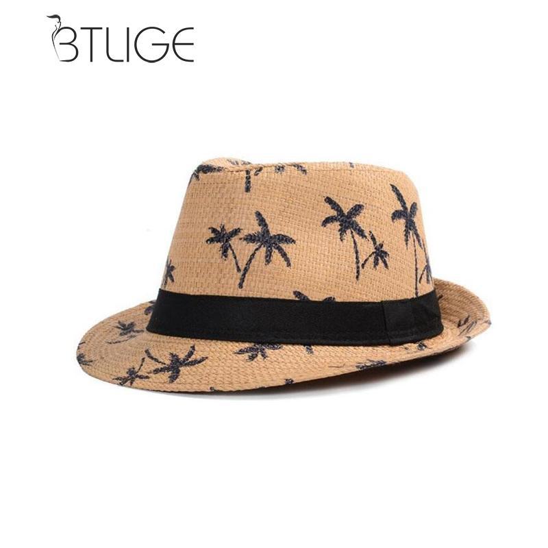 54c31e29fef Detail Feedback Questions about BTLIGe Summer Straw Hats For Adult Kids  Children Panama Hat Coconut Tree Jazz Caps Casual Beach Visor Sun Hat  Parent child ...