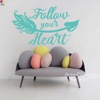 Follow Your Heart Wall Sticker Living Room Baby Nursery Boho Bohemian Arrow Love Quote Wall Decal