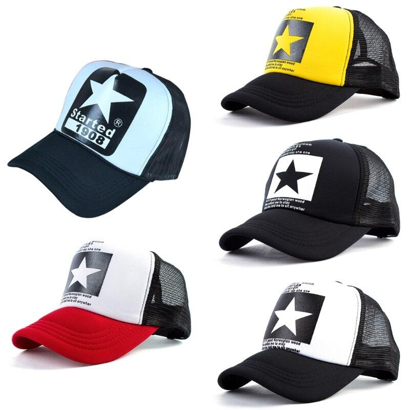 Fashion Five Pointed Star Mesh Snapback   Baseball     Cap   Men Women Adjustable Hats