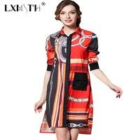 Long Shirt Dress Summer 2017 Faux Silk Single Breasted Print Dress Shirt Turn Down Collar Shirts