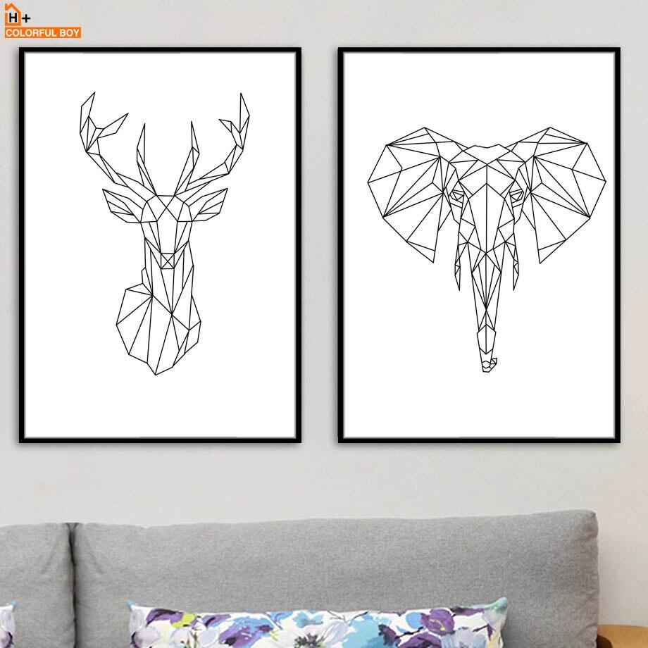 Gjeometri Dreri Elefant Zemra Muri Arti Shtypi Kanavacë Piktura - Dekor në shtëpi - Foto 3
