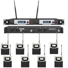 UHF Dual Canais 2 Inear Fone De Ouvido Sem Fio In Ear Monitor System Monitoramento Fase 150 m com Bodypack 8 Receptores