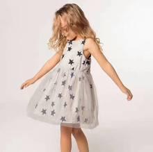 Bobozone Cinco-estrela vestido de Malha De impressão para crianças meninas roupas