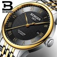 Genuine Luxo Marca Suíça BINGER Homens automático mecânica auto vento relógio de aço cheio de safira à prova d' água de negócios de moda watch brand watch business watch f -