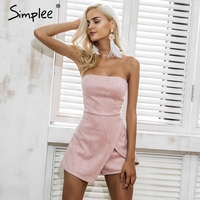 Simplee Strapless Leather Suede Jumpsuit Romper Women Slim Pink Winter Irregular Short Playsuit Elegant Autumn Female